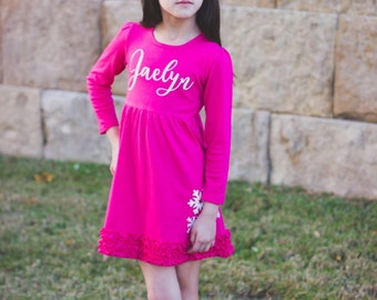 Snowflake Long Sleeve Ruffle Dress with name
