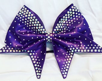 Purple satin bow with AB crystal rhinestones-other colors available