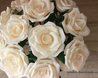 10 Paper Roses, Paper Rose Bouquet, Bridal Rose Bouquet, Paper Rose Centerpiece, Wedding Flowers Decor, Table Centerpiece, Home Decoration