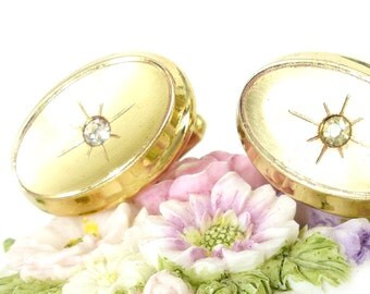 Shop pick! Wedding cufflinks, vintage Anson in a heavy gold setting with burst and crystal concave face design. Excellent condition.