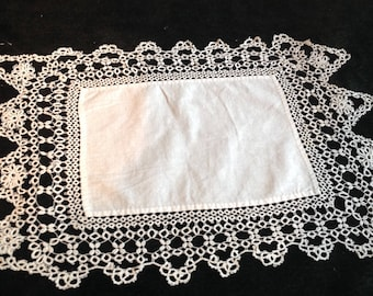 Vintage small dresser scarf, handmade wide tatted edge