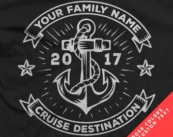 Nautical Cruise or Sailing Shirts with Custom Family Name, Colors, and Vacation Destination