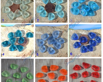 More Color~Sea Glass 8pcs (10-15mm)  Rainbow 3mm Large Hole Pebble Nuggets Freeform Cultured Sea Glass Beads~ Beach Glass Beads