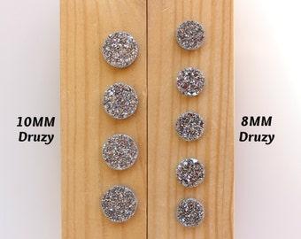 8MM or 10MM Silver Druzy cabochons / Drusy / Natural Druzy Quartz / Round Druzy / Iridescent Druzy / Loose Gemstone Cabs / Jewelry Making