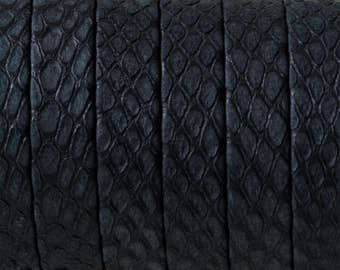 "1 Meter (40"") NEW Snake Engraved Black 10mm Flat Leather Cord"