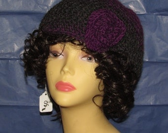 Purple and Grey Winter Hat with Flower