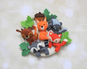 Woodland mobile baby mobile forest animals custom mobile woodland nursery fox mobile crib mobile nature mobile forest mobile cot mobile