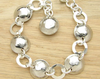 For 16th: 2001 US Dime Bracelet with Silver Rings 16th Birthday or 16th Anniversary Gift Coin Jewelry