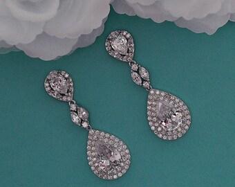 Bridal Earrings CZ Swarovski Crystal Dangle Chandelier Long Earrings Vintage Cubic Zirconia Bridal Wedding Jewelry Prom Earrings 010