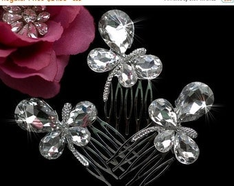 Bridesmade Butterfly Comb Bridal Wedding Clip Rhinestone Crystal Headpiece Hair Accessories Wedding  Rhinestone Prom Hair Comb