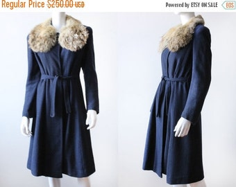 ON SALE Vintage 1940's Wool Bouclé Coat with Dramatic Fur Collar
