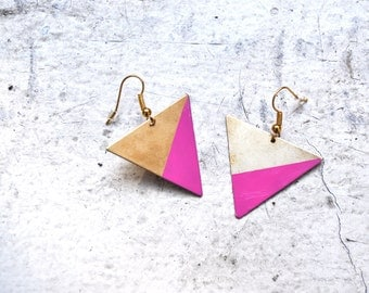 asymmetrical bright pink dipped raw brass earrings