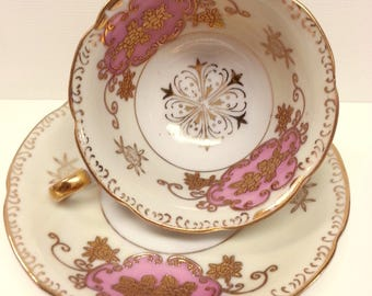 Old Gold China Pink Gilded Cup & Saucer, Mid Century Japanese Porcelain