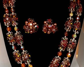 Brown Beaded Necklace & Clip Earrings, Costume Jewelry, Demi Parure, Textured Beads
