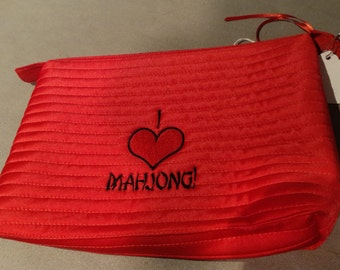 Red Satin Mahjong pouch
