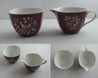 Rosenthal Germany. Fortuna. Design: Elsa Fischer-Treyden (1956/57). Milk and sugar set for mokkaservice. Porcelain in Bauhaus style. VINTAGE