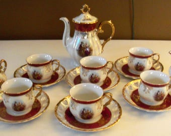 Stunning MTK Tohki 15 Piece Tea Set With Lusterware Finish Courting Scene