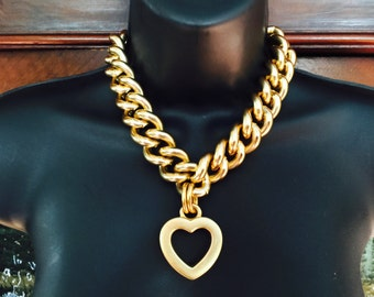 Heavy chain necklace with Heart,signed Erwin Pearl,circa 1980