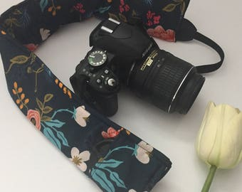 Navy Floral Camera Strap Cover, Floral Camera Strap Cover, Navy Camera Strap, Padded Camera Strap, Gift for Her, Gift Under 20