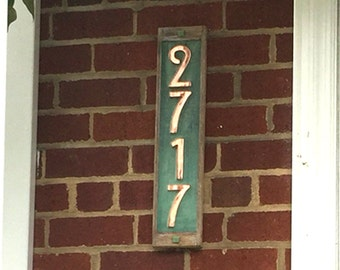 "Mission Mackintosh Style Oak framed and Copper, 3""/75mm or 4""/100mm address plaque, 4 x numbers, polished, patinated and  laquered o"