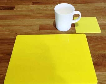 Rectangle Placemats or Placemats & Coasters - in Yellow Gloss Finish Acrylic 3mm