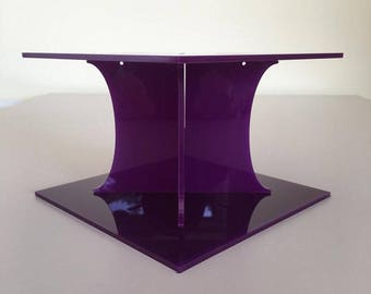 "Plain Square Purple Gloss Acrylic Cake Pillars/Cake Separators, for Wedding / Party Cakes 10cm 4"" High, Size 6"" 7"" 8"" 9"" 10"" 11"" 12"""
