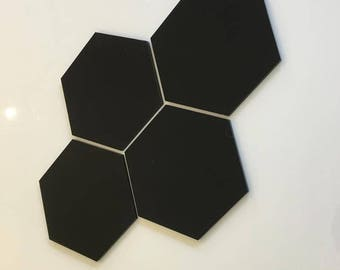 "Black Gloss Acrylic Hexagon Crafting Mosaic & Wall Tiles, Sizes: 1cm to 20cm - 1"" to 7.9"""