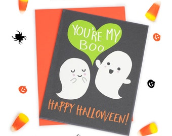 Funny Halloween Card - You're My Boo - I Love You Card