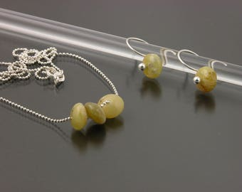 Sterling Silver African Opal Earring & Necklace Set   Gem Spotlight Collection