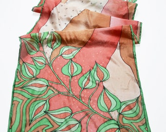 Silk scarf Hand painted- brown silk scarf- green brown scarf- floral painted scarf- small neck scarf- Scarf for woman- abstract floral scarf