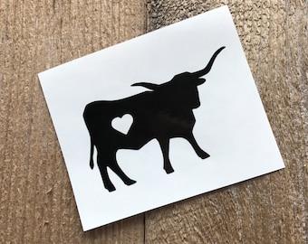 Longhorn decal, cow decal, phone decal, car decal, cup decal, tumbler decal, mug decal, sticker, custom decal, farm decal, animal decal, moo