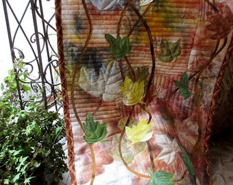 Hand painted/dyed art quilt - Falling Leaves