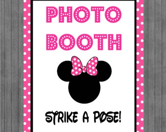 ON SALE!!  Mouse Birthday Sign, Photo Booth Sign, Hot Pink