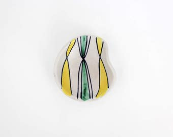 Vintage West German Ashtray // Art Pottery Trinket Tray // Hand Painted Stoneware Ash Tray
