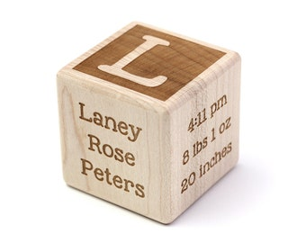 1.75 inch Classic Baby Block in Maple, New Baby Personalized Wood Gift
