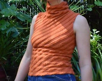 Funky Orange Fuzzy Striped Sleeveless Turtleneck