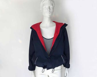 The Auxiliary Boat Vintage Outerwear Hooded Jacket Windbreaker Anorak Navy Blue Nylon Red Cotton Jersey Lining Womens Nautical Outerwear