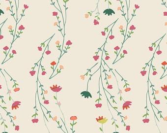 Climbing Posies Pale in KNIT, Garden Dreamer, Art Gallery Fabrics, apparel fabric, modern, floral fabric, flower, Maureen Cracknell