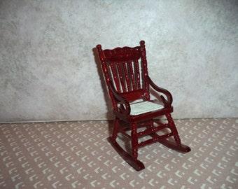 1:12 scale Dollhouse Miniature Dark Mahogany Rocking Chair