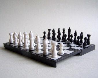 Vintage Pocket Chess set. Mini Travel chess set. USSR. Soviet Era.