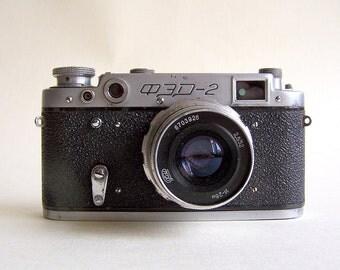 Vintage Soviet Film Camera FED 2 USSR the 1960s 35mm Camera with Industar 26m 2.8/50 mm