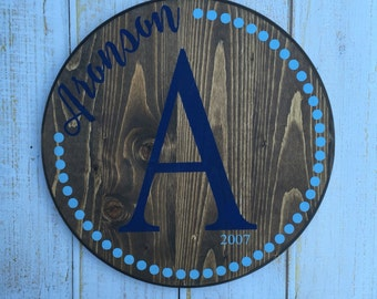 Personalized Last Name Sign, Personalized Gift, Custom Name Sign, Last Name Sign, Circle, Hand Painted Sign