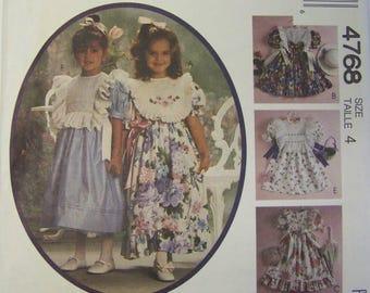 UNCUT 1990 McCall's 4768 KITTY BENTON Girls Dress pattern sz 4