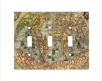 Metal Vintage Map Triple Toggle Light Switch Covers - 3T 3 toggle - World Map Toggle - Greens and Browns