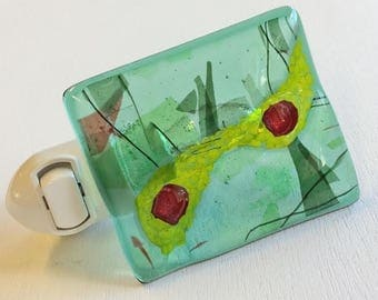 Fused Glass Night Light, Abstract Fused Glass Night Light, Green Night Light, Glass Night Light, Bathroom Nightlight, Fused Glass Light