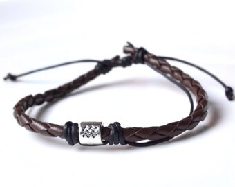Brown leather silver Aquarius