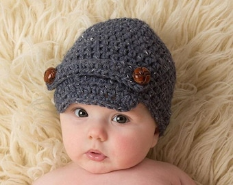 Newsboy baby Hat - Crochet Childs Hat - Childs Newsboy Hat - Boy Hat - Toddler Boy Hat - Child Beanie - Toddler Hat