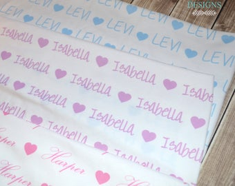 Personalized heart baby name swaddle blanket: baby and toddler personalized name newborn hospital gift baby shower gift