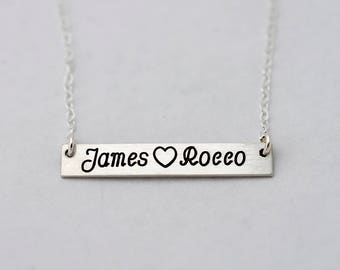 Child Names Necklace, Personalized Mother's Necklace Bar, Mother's Day Necklace, Engraved Names with Heart, Silver Mothers Necklace,