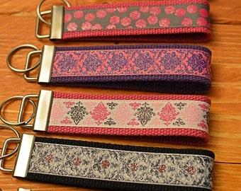 Key Fob Keychain Wristlet Dots Roses Zebra Pink Black Purple